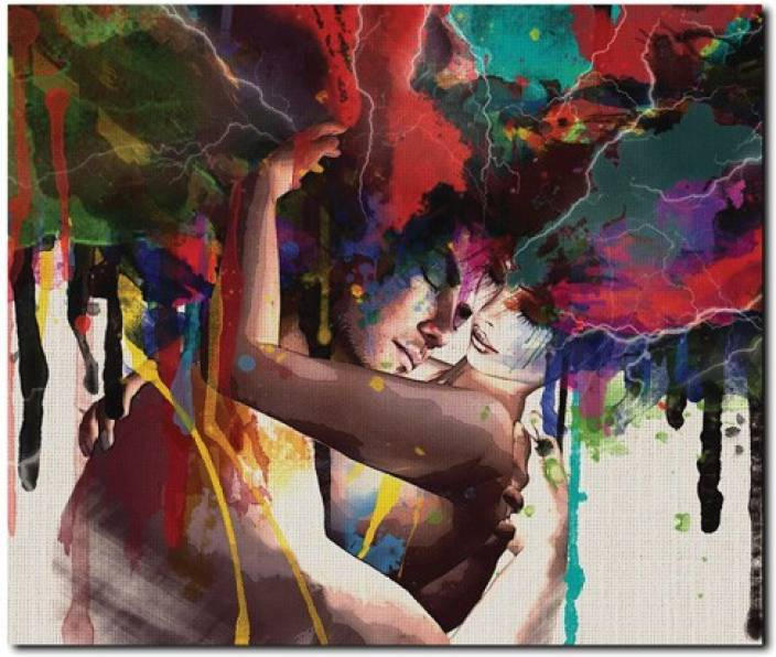 Stybuzz Couple In Love Modern Art Frameless Canvas Art Art