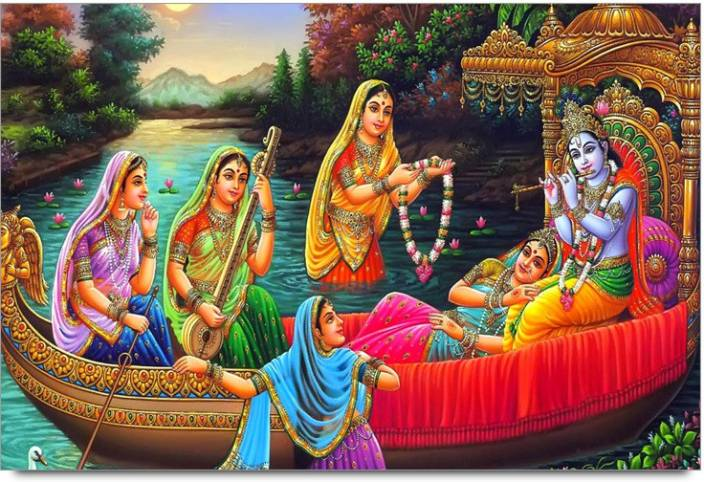 Amy Beautiful Lord Radha Krishna seating in Boat with Gopiya