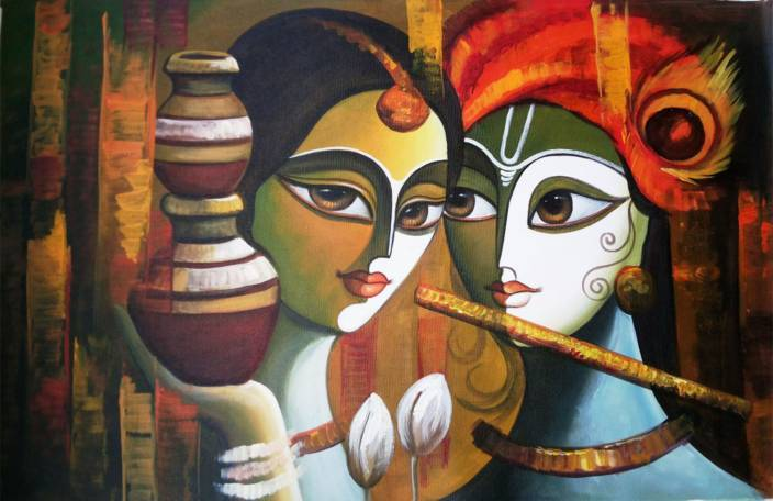Colormart Radha Krishna Paintings Photographic Paper