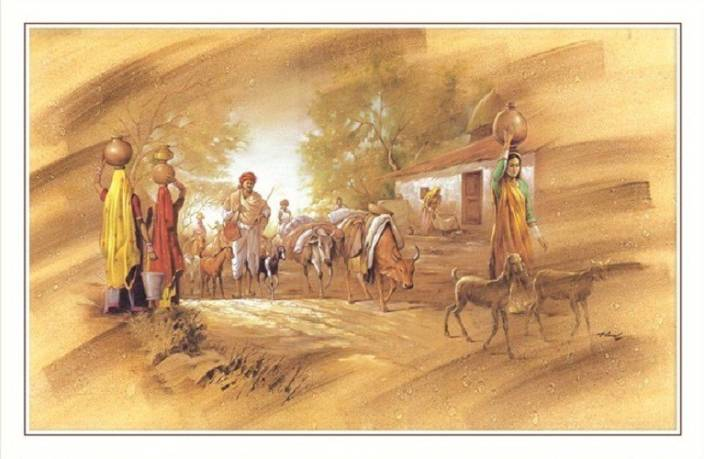 Bm Traders Beautiful Village Scenery Big Rolled Canvas Art Nature
