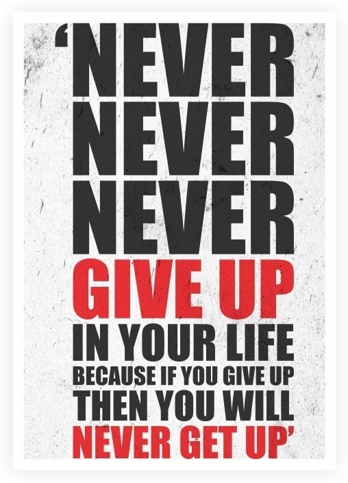 Never Give Up In Your Life Gym Motivational Quotes Poster Paper Print