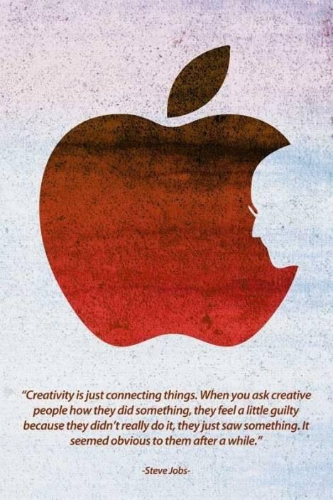 Steve Jobs Creativity Apple Logo Paper Print Quotes Motivation