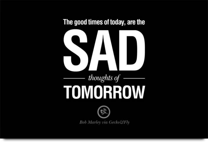 Sad Thoughts Of Tomorrow Paper Print Quotes Motivation
