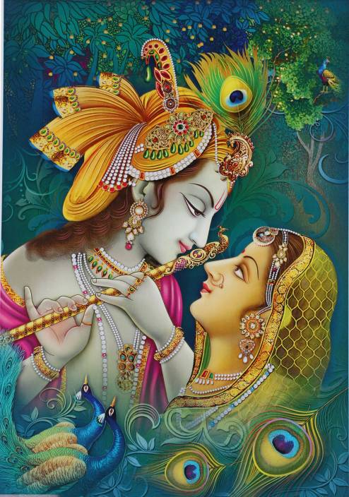 radha krishna unframed wall sticker poster big ( vinyl 24 x 48