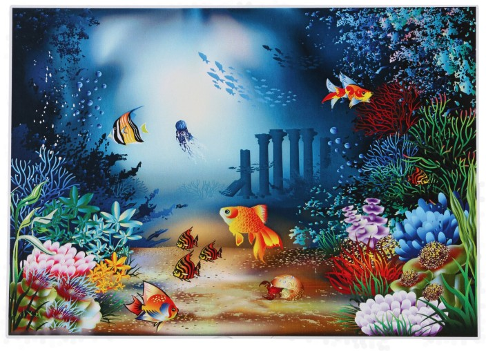 "Canvas Wall Art Coral Reef and Tropical Fish under the Ocean 16/"" x 24/"""