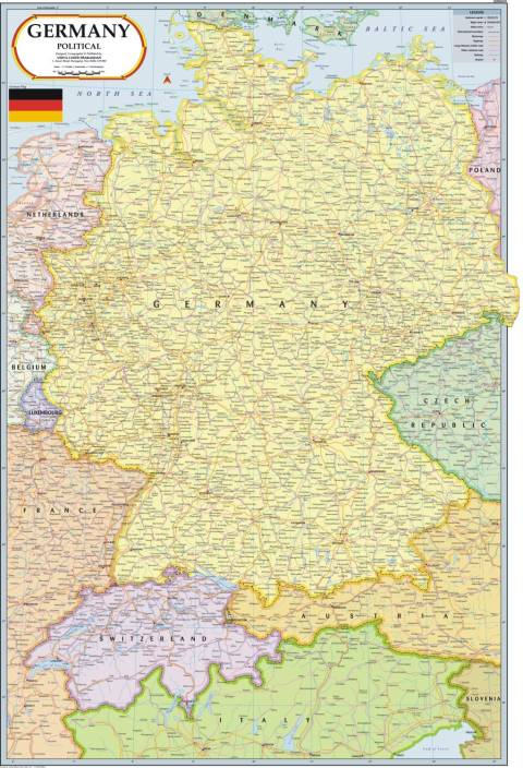 Germany map paper print maps posters in india buy art film germany map paper print gumiabroncs Image collections