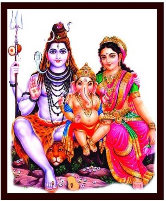 Lord Shiva And Parvathi And Ganesha 8 Canvas Art Religious