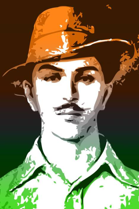 Bhagat Singh Tricolor Paper Print Personalities Posters In India