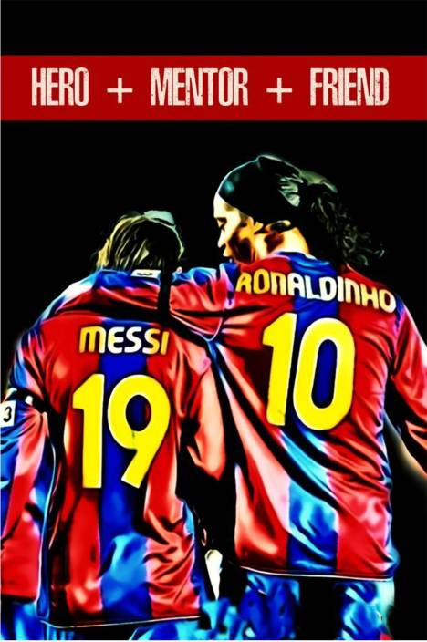 vprint messi and ronaldinho wall poster sports 12x18 paper print