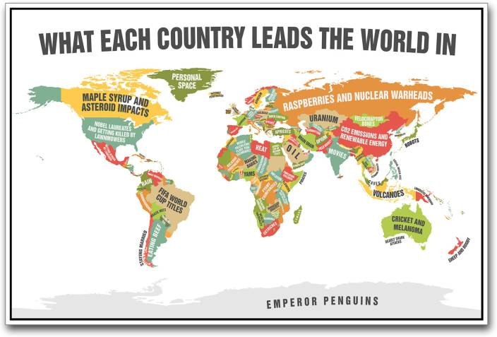 World map leading countries paper print maps posters in india world map leading countries paper print gumiabroncs Image collections
