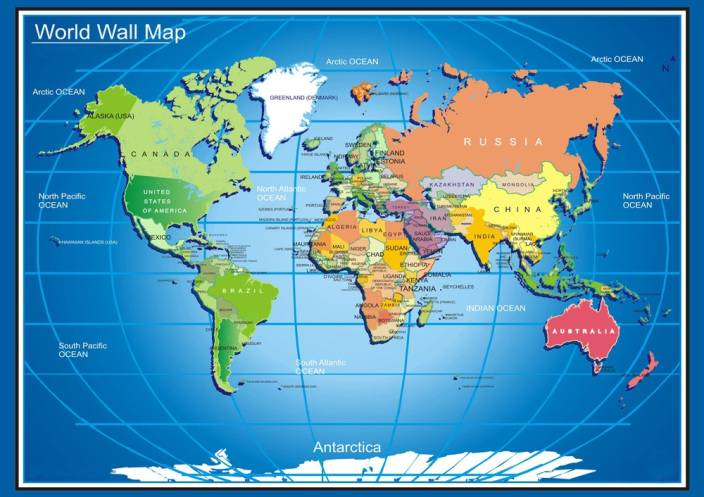 World political map 56 fine art print maps posters in india buy world political map 56 fine art print gumiabroncs Image collections