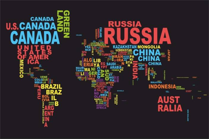 Athah poster world map names country paper print places posters in athah poster world map names country paper print gumiabroncs Image collections