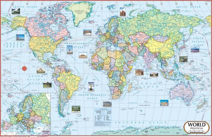 World map paper print vidya chitr prakashan posters maps world map paper print gumiabroncs Image collections