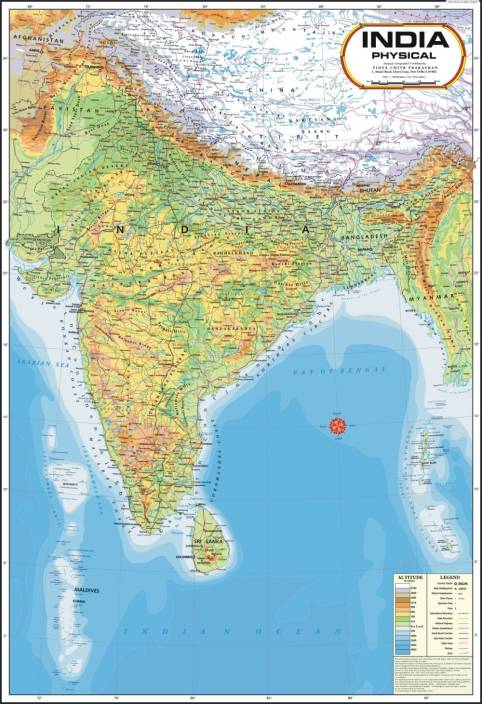 India Physical Map Paper Print   Maps, Educational posters in