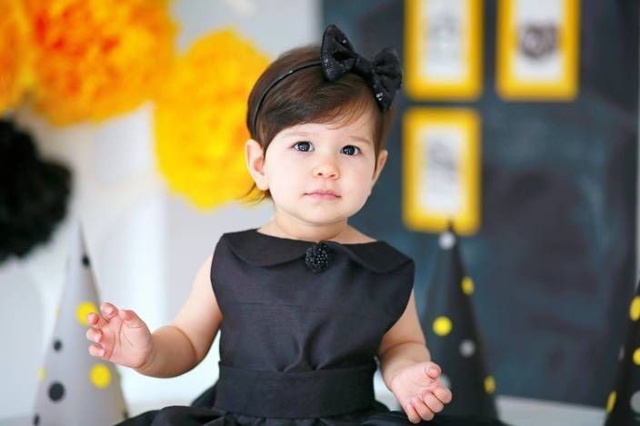 Cute Baby Little Princess In Black Dress Photographic Paper