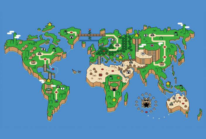 Super Mario World Map Minimalist Paper Print - Maps posters