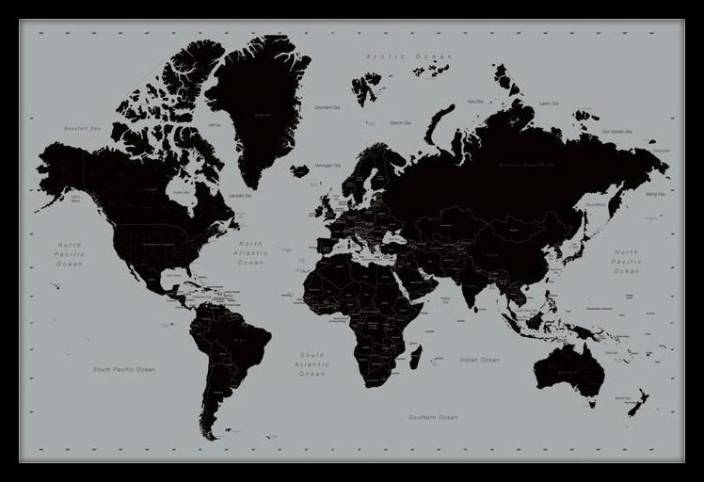 Black And White World Map Framed.Affordable Art India World Map Contemporary Large Framed Fine