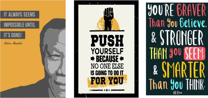 Ypperlig Combo pack of Motivational quotes Wall Poster Quotes & Motivation AK-91