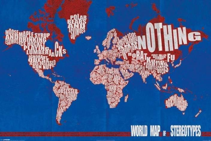 World map of stereotypes paper print maps posters in india buy world map of stereotypes paper print gumiabroncs Image collections