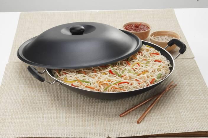 Elite Black Beauty Chinese Wok Pan 37.5 cm diameter