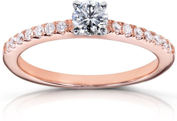 Amogh Jewels YGADR9 14kt Swarovski Zirconia Rose Gold ring Price