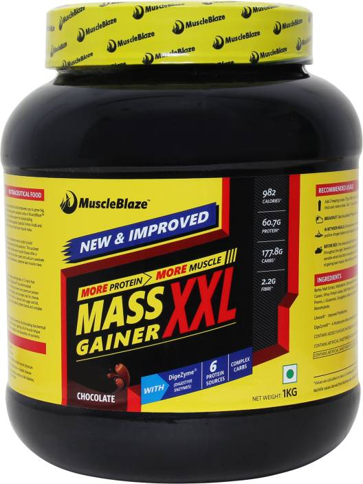 MuscleBlaze Mass Gainer XXL Weight Gainers/Mass Gainers  (1 kg, Chocolate)