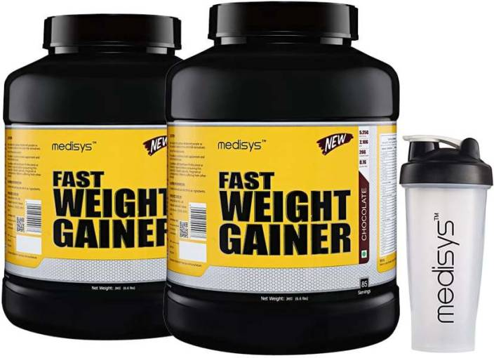 Medisys Medisys Fast Weight Gainer Chocolate 3Kg-Pack of 2 [Free Shaker]  Whey Protein
