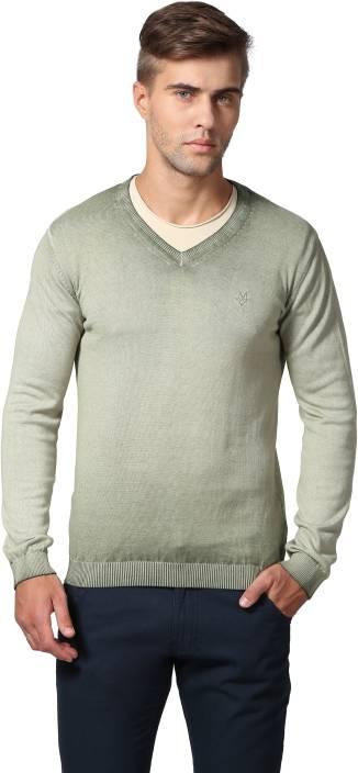 eed94c3cedf Goat Solid V-neck Casual Men Light Green Sweater - Buy Olive Goat ...