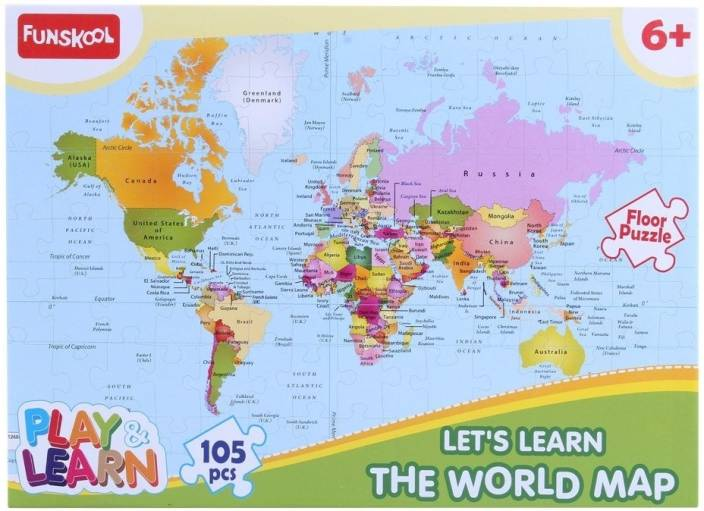 Funskool World Map Puzzles Educational Game - World Map Puzzles ...