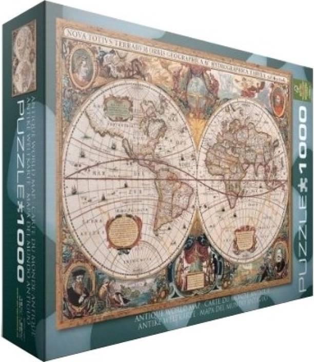 Antique World Map Puzzle.Eurographics Antique World Map Antique World Map Shop For
