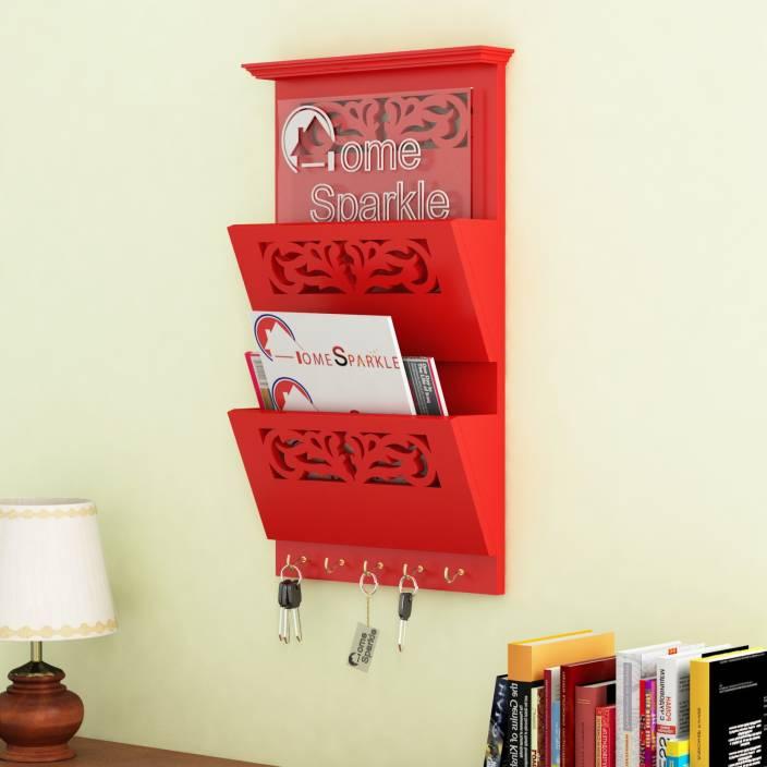 Home Sparkle Letter Rack Cum Key Holder MDF Wall Shelf Price in ...