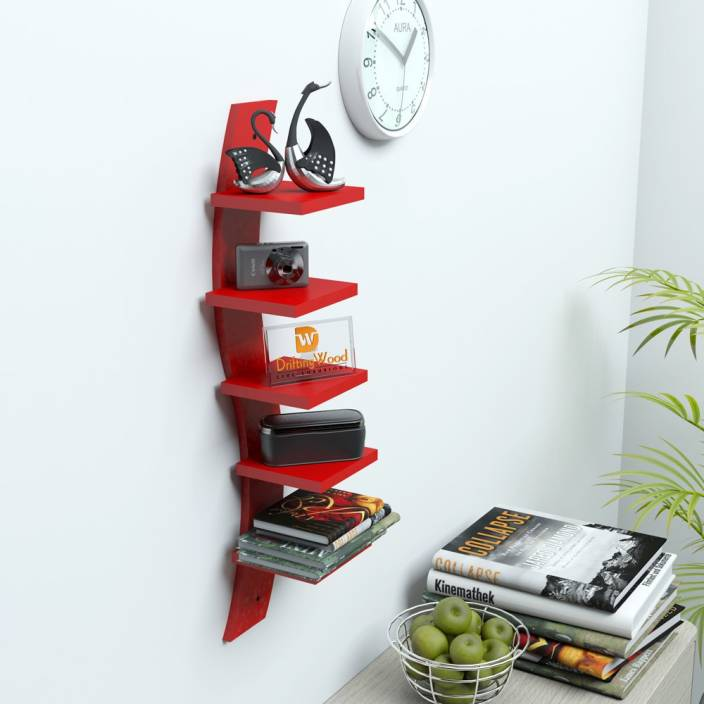 DriftingWood Snake Shape Curved Mounted Rack Shelves/Shelf High Quality Wooden Home D�cor Wall Shelf MDF Wall Shelf