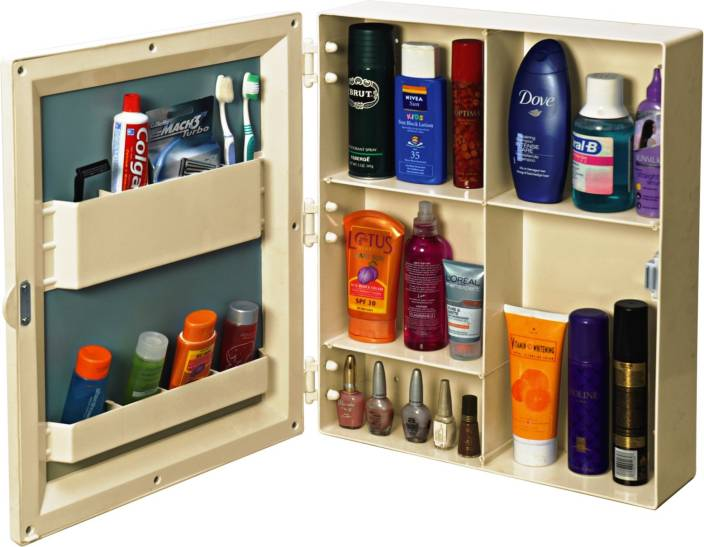 cipla plast flora bathroom mirror cabinet ivory plastic wall shelf - Bathroom Mirror Cabinet Price India