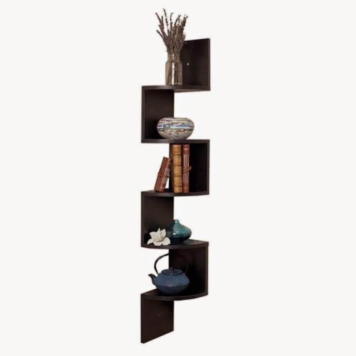 Usha Furniture Corner Mount Wall Shelves Zigzag Shape Rack Wooden