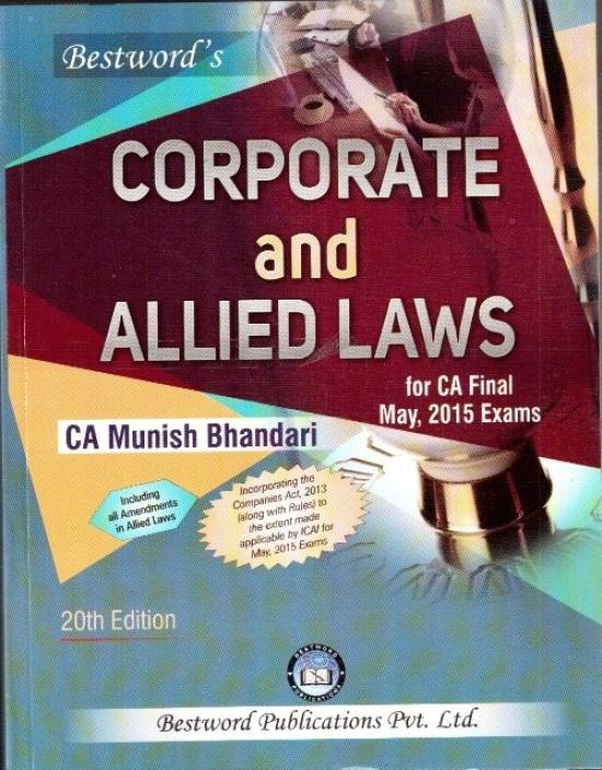 Corporate And Allied Laws For Ca Final Exam May,2015 Exams