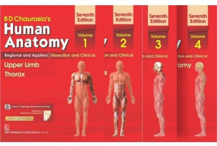 Human Anatomy By B D Chaurasia's 7th Edition(Set Of 4 Books