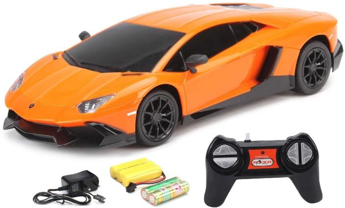Flipzon RC Lamborghini Aventador LP720 4 1:24 Rechargeable Toy Car (Orange)