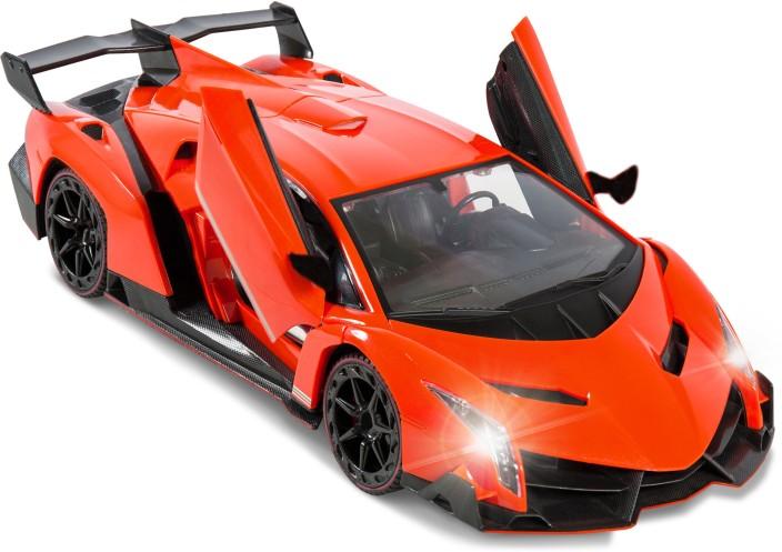 Flipzon RC Lamborghini Veneno Style Rechargeable Car 1:14 With Opening  Doors (Orange)