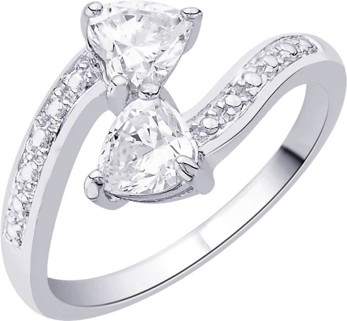 Voylla Sterling Silver Cubic Zirconia Sterling Silver Plated Ring