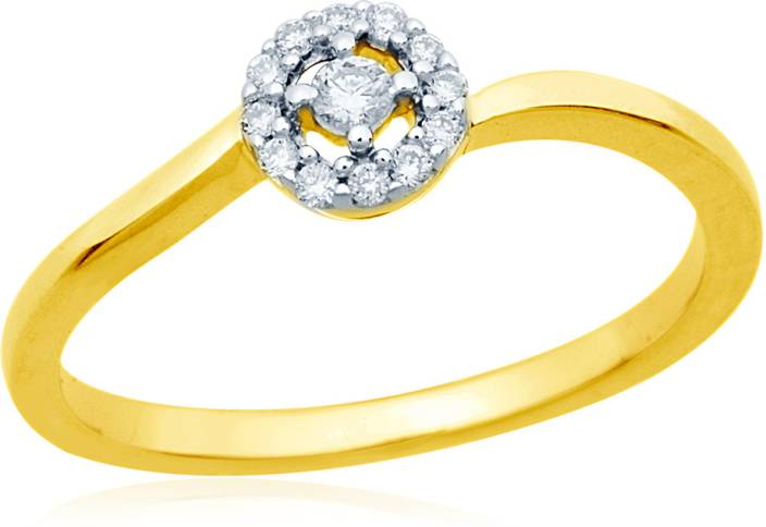 Mirrar Sterling Silver Diamond Yellow Gold Plated Ring