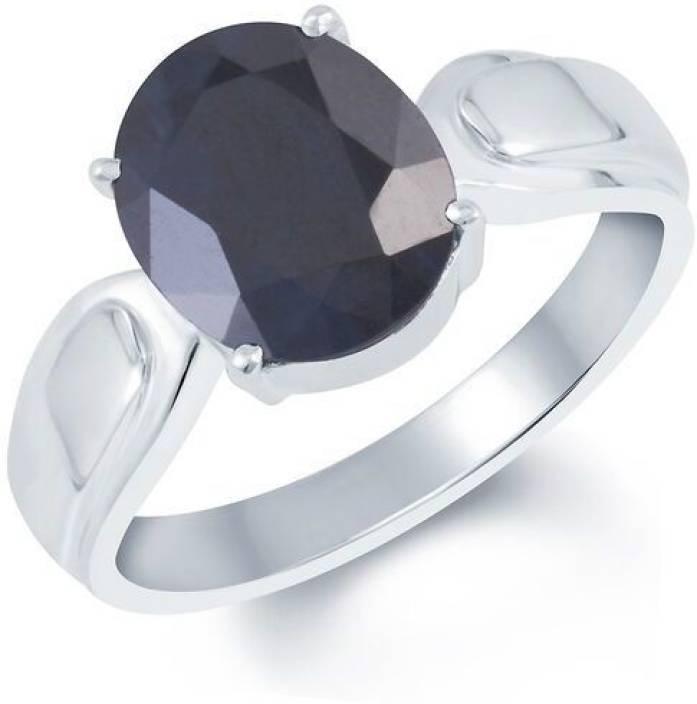 G-Luck Neelam Stone Weight- 5.4 Carat / 6.35 Ratti Silver Sapphire Ring