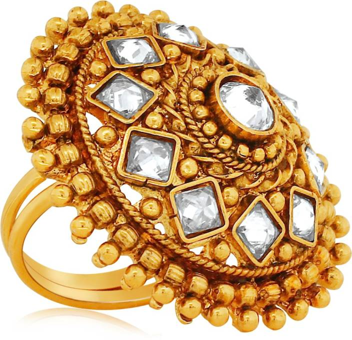 f1b62ed0c Spargz Designer Round Finger Ring Studded with AD Stone Alloy Gold-plated  Plated Ring Price in India - Buy Spargz Designer Round Finger Ring Studded  with AD ...