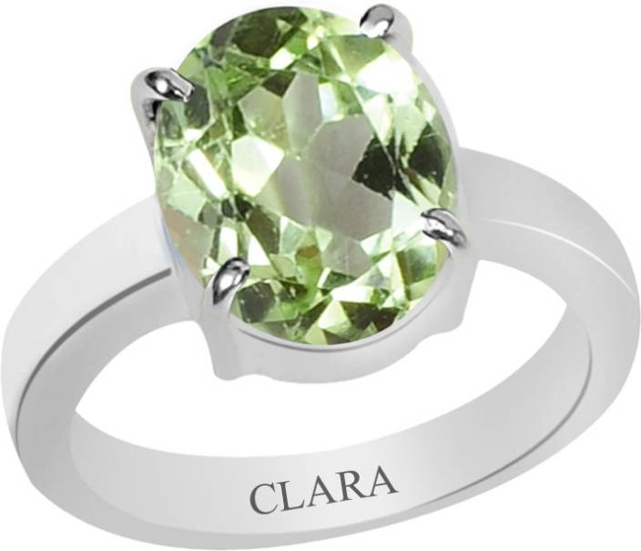 Clara Certified 3 cts or 3.25 ratti 4 Prongs Sterling Silver Peridot Ring