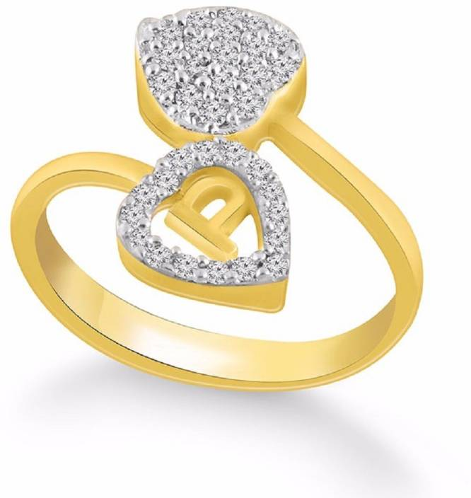P Letter Images.Kanak Jewels Diamond Heart Letter P Designed For Girls Women Brass Cubic Zirconia Gold Plated Plated Ring