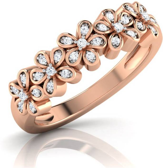 Caratlane Forget Me Not Band 18kt Diamond Rose Gold ring Price in ...