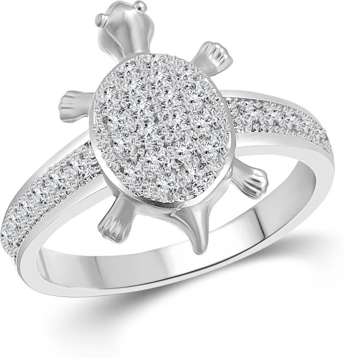 Vighnaharta Micro Tortoise Alloy Cubic Zirconia Gold Plated Plated