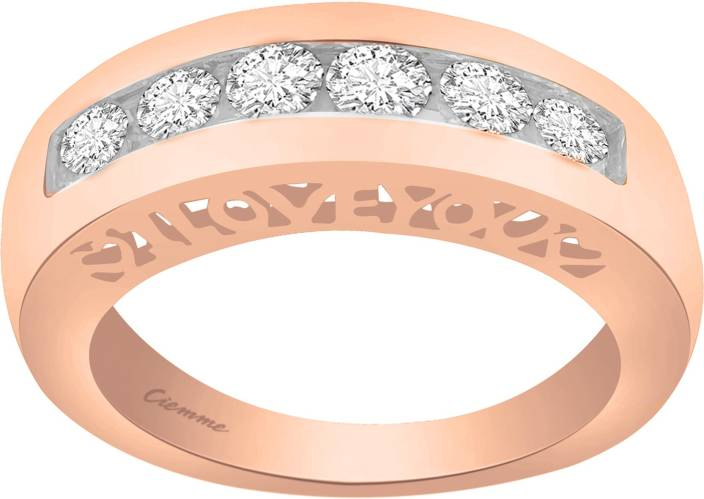 Ciemme 1.30 CT Round Cut Channel Set Sterling Silver Cubic Zirconia 18K Rose Gold Plated Ring
