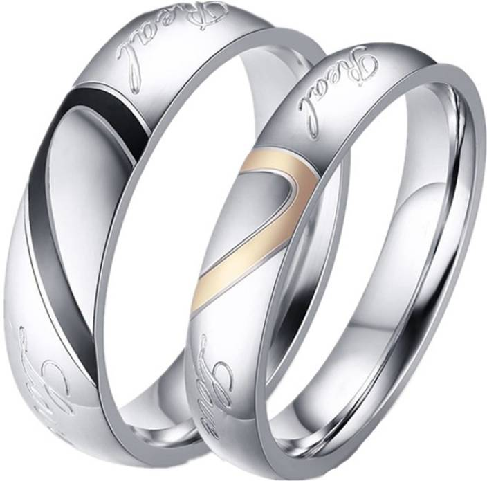 4271f79084524 Aaishwarya Real Love Inscribed Heart Designed Couple / Wedding / Promise  Rings Stainless Steel Silver Plated Ring Set
