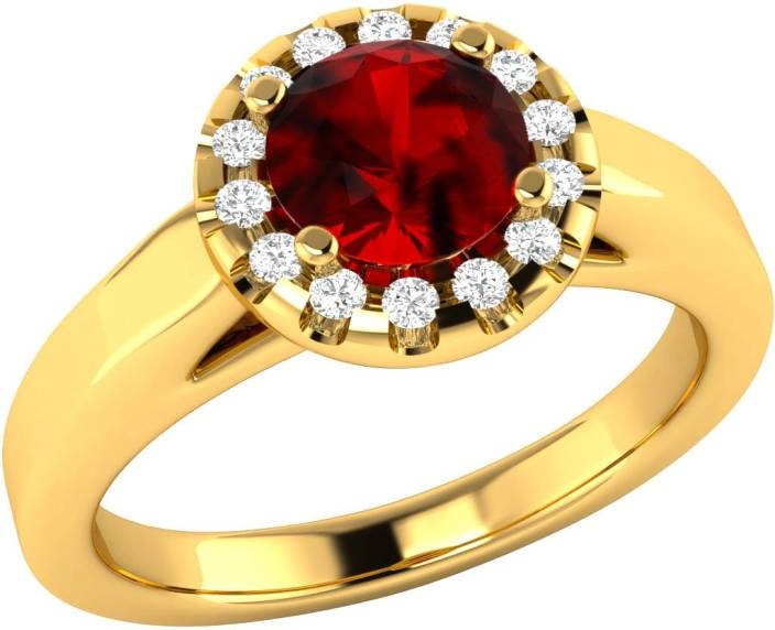 Demira Jewels Alluring Sterling Silver Ruby, Diamond Yellow Gold Plated Ring