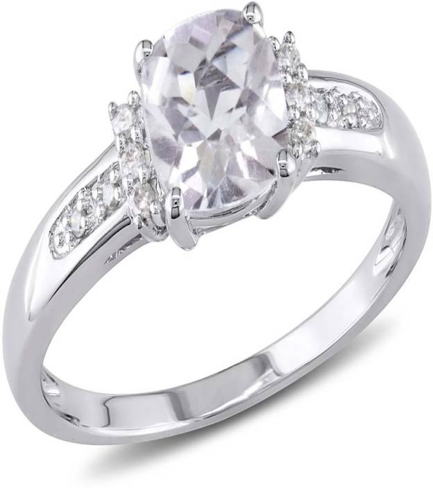Kiara Jewellery Sterling Silver Swarovski Crystal Sterling Silver Plated Ring